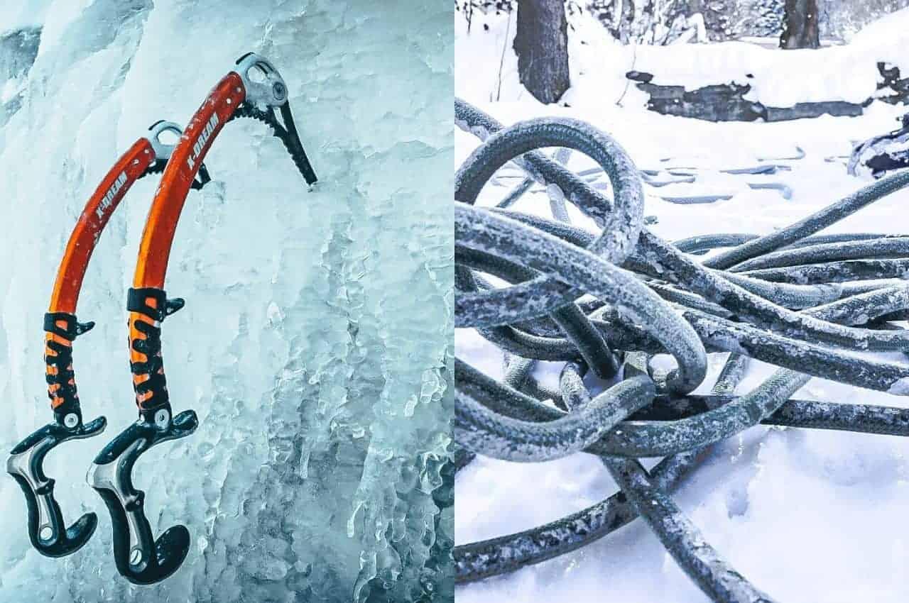 Ausrüstung zum Bergsteigen. Eispickel und Seil
