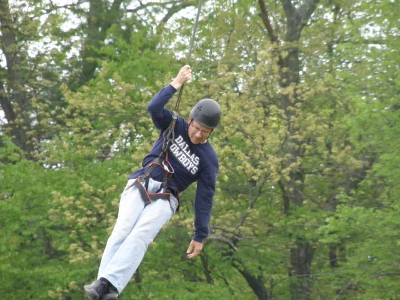 Man on a zipline
