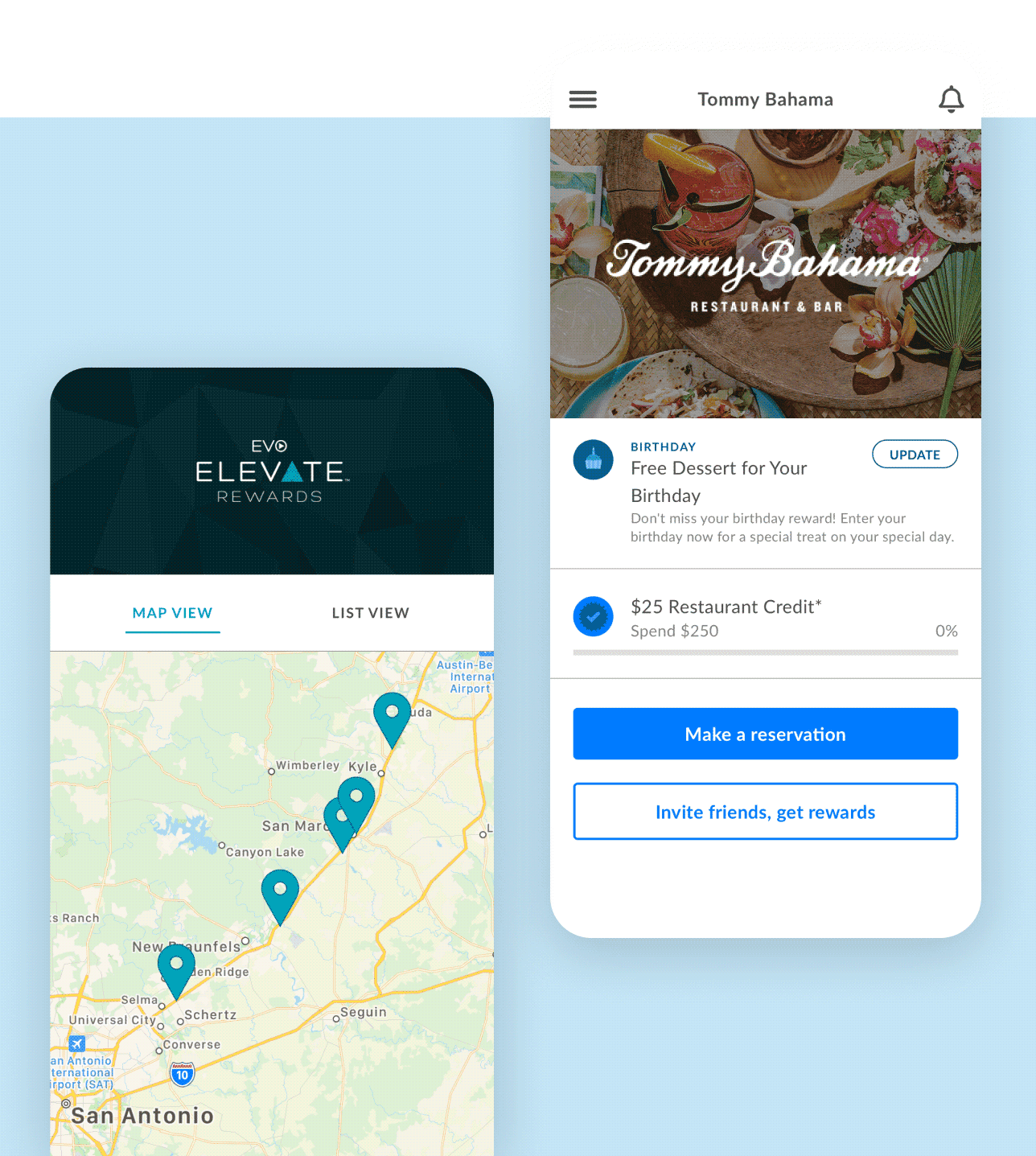 Screenshots of EVO and Tommy Bahama mobile apps by Thanx