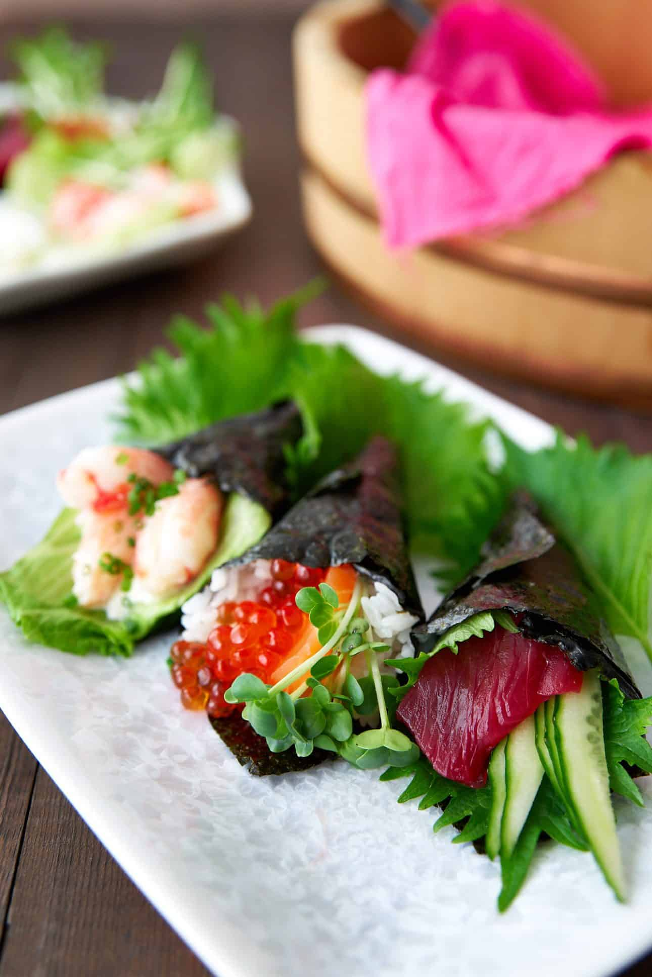Temaki sushi is an easy hand-rolled sushi that you can fill with your favorite ingredients. Perfect for parties.