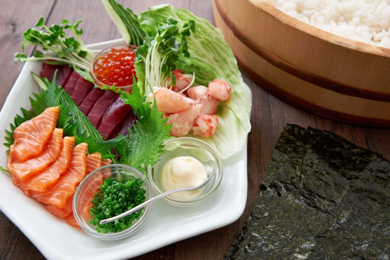 Temaki sushi can be filled with what you like including seafood, vegetables, meat and cheese.