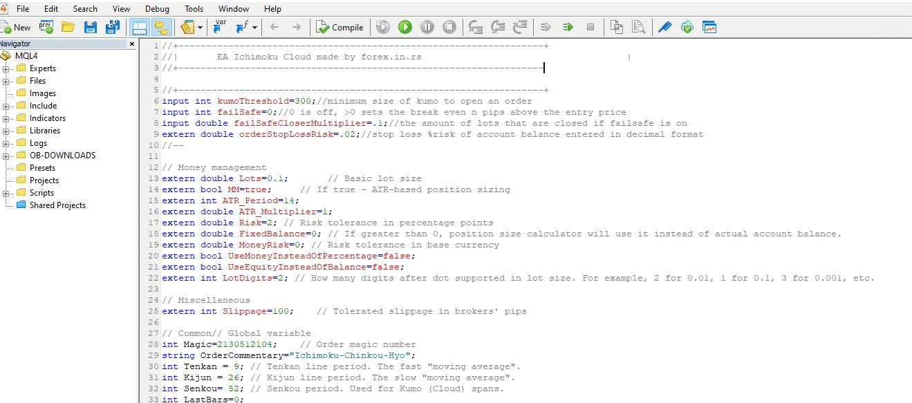 EA Ichimoku cloud settings testing screenshot