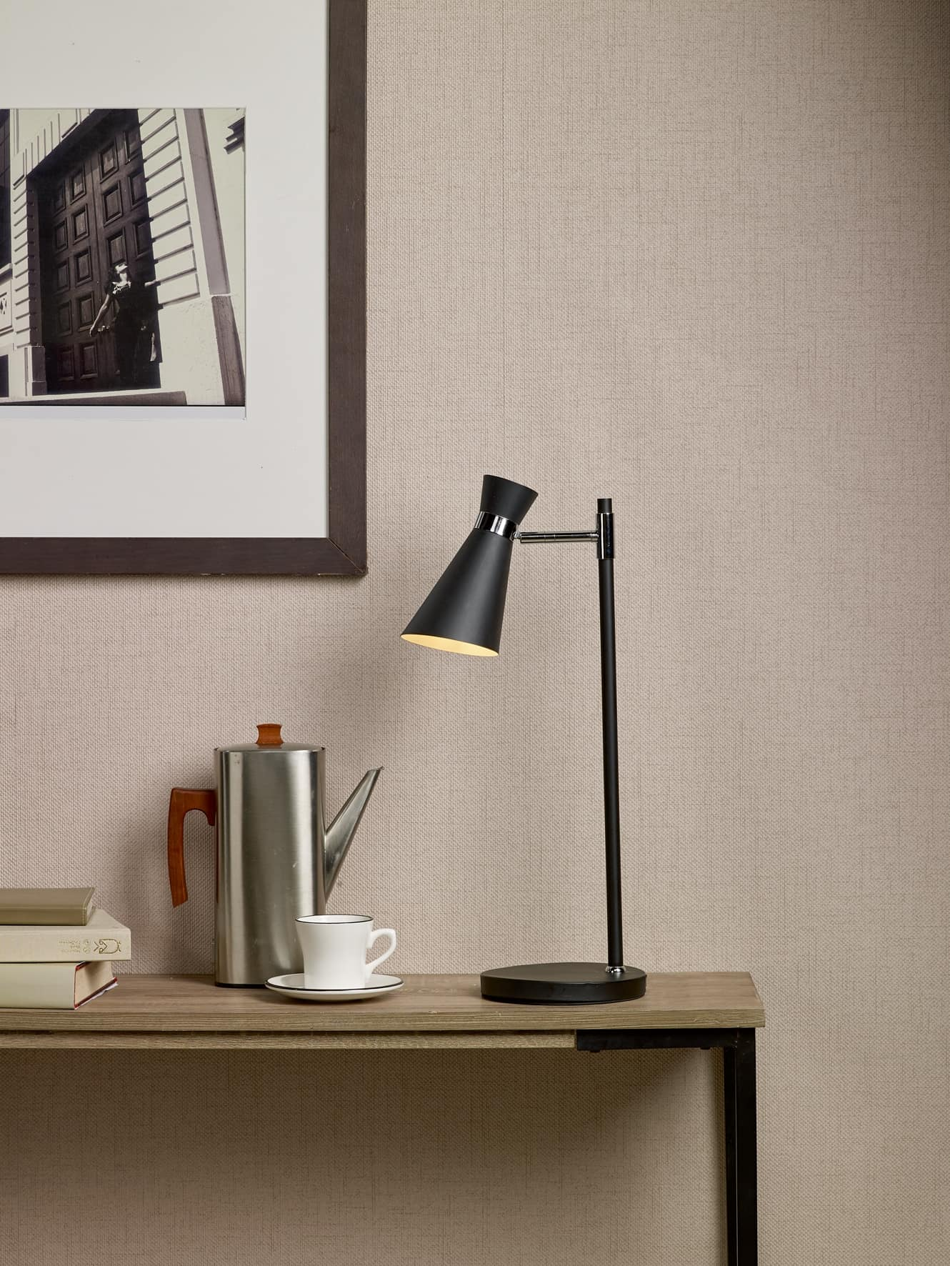 Där ASH4122 Ashworth Table Lamp Black Polished Chrome