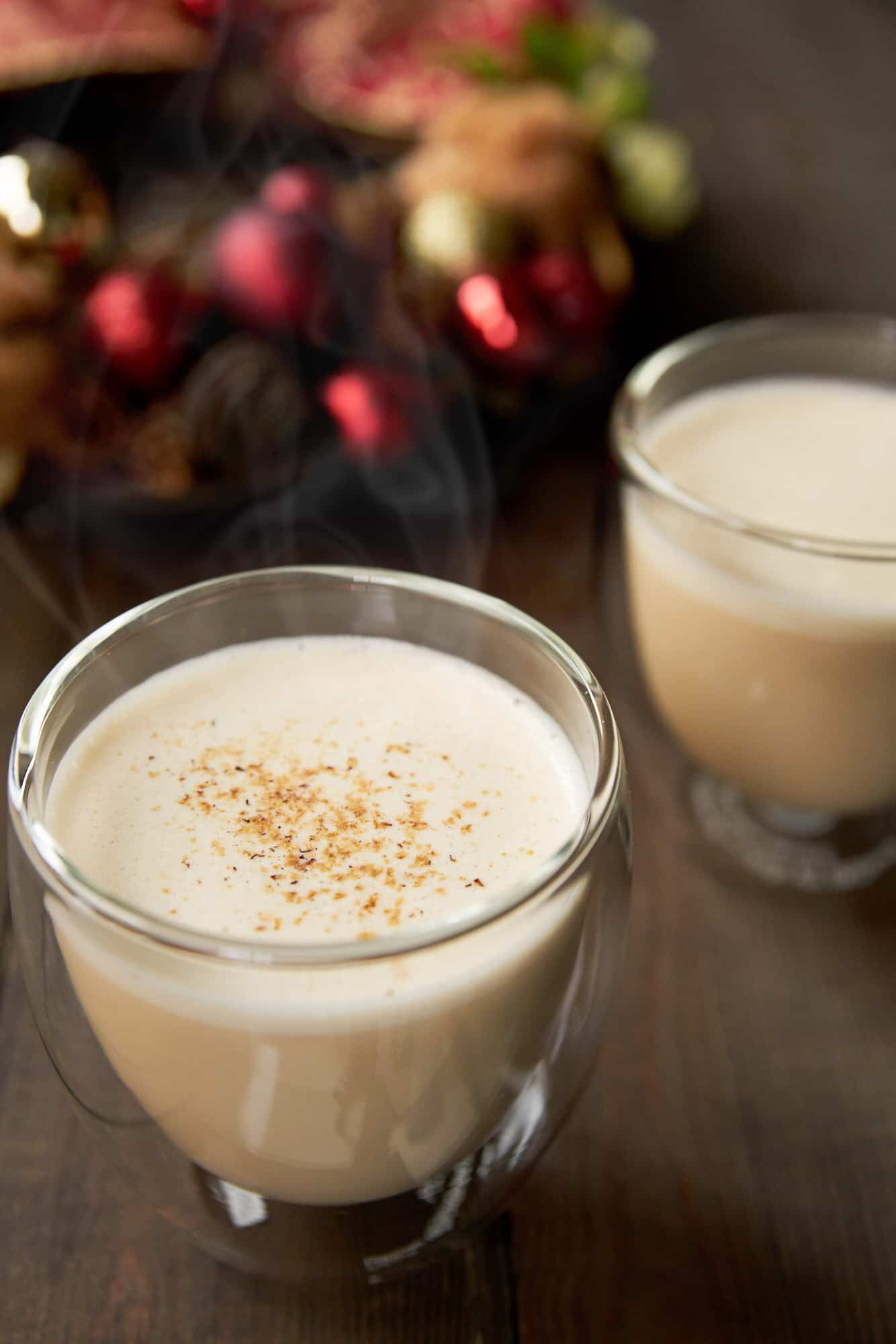 Easy delicious hot eggnog recipe that's redolent of brandy and nutmeg with a frothy head that makes this holiday treat all the more decadent.