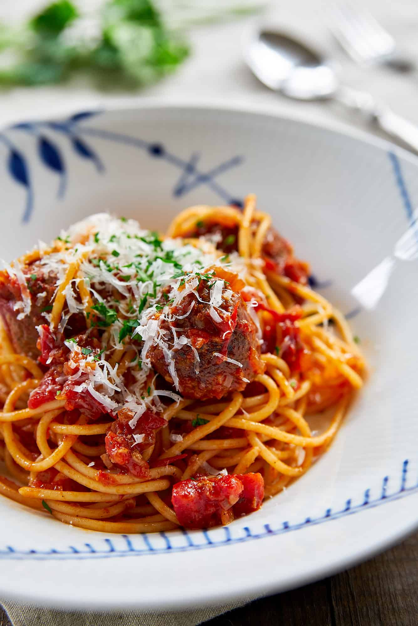 The ultimate guide to making the best Spaghetti and Meatballs, includes tips on the meat, aromatics, seasonings, fillers, and cooking techniqes to make the juciest, most tender, and flavorful meatballs.