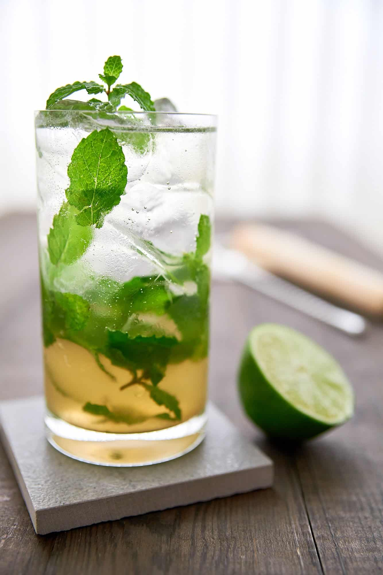 A delicious take on on the classic mojito cocktail using Japanese brown sugar shochu instead of rum.