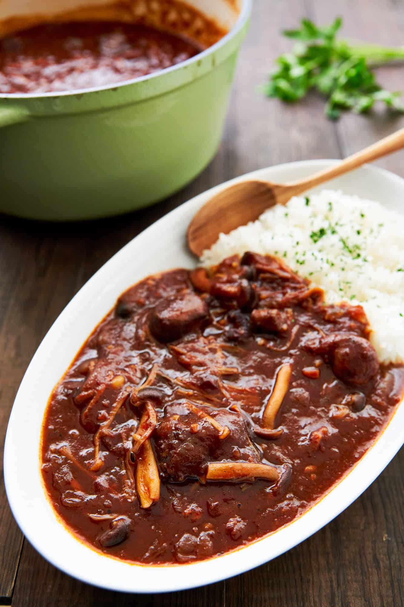 With a flavor somewhere between Boeuf Bourguignon and Sloppy Joes, Hayashi Rice is a Japanese-style beef stew that's a family favorite in households around Japan.