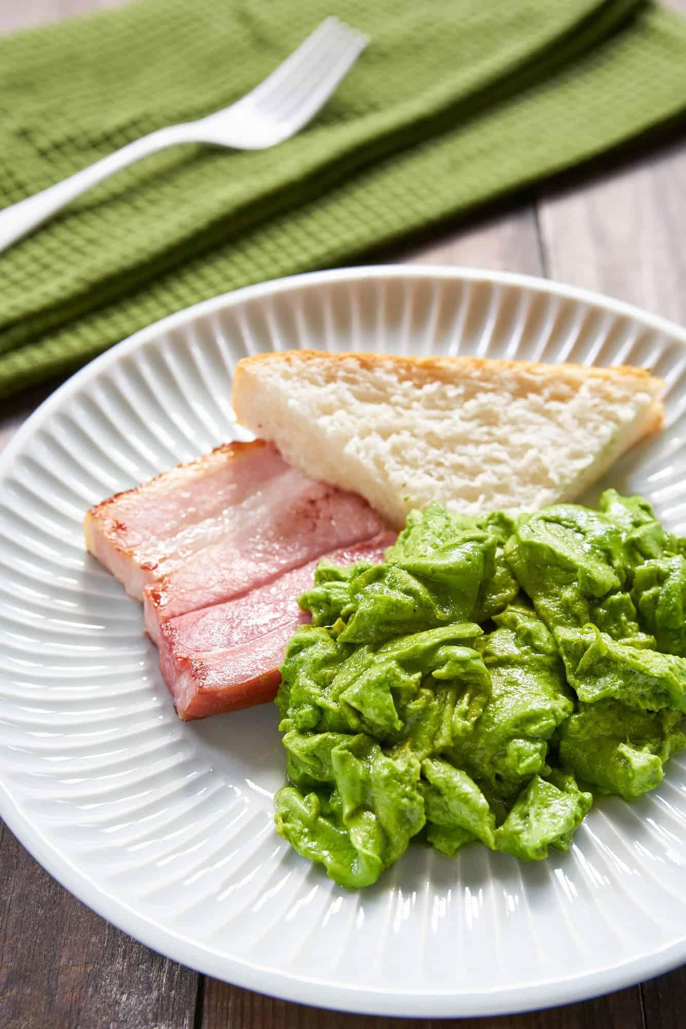 Green eggs and ham recipe using matcha powder to turn the scrambled eggs green.