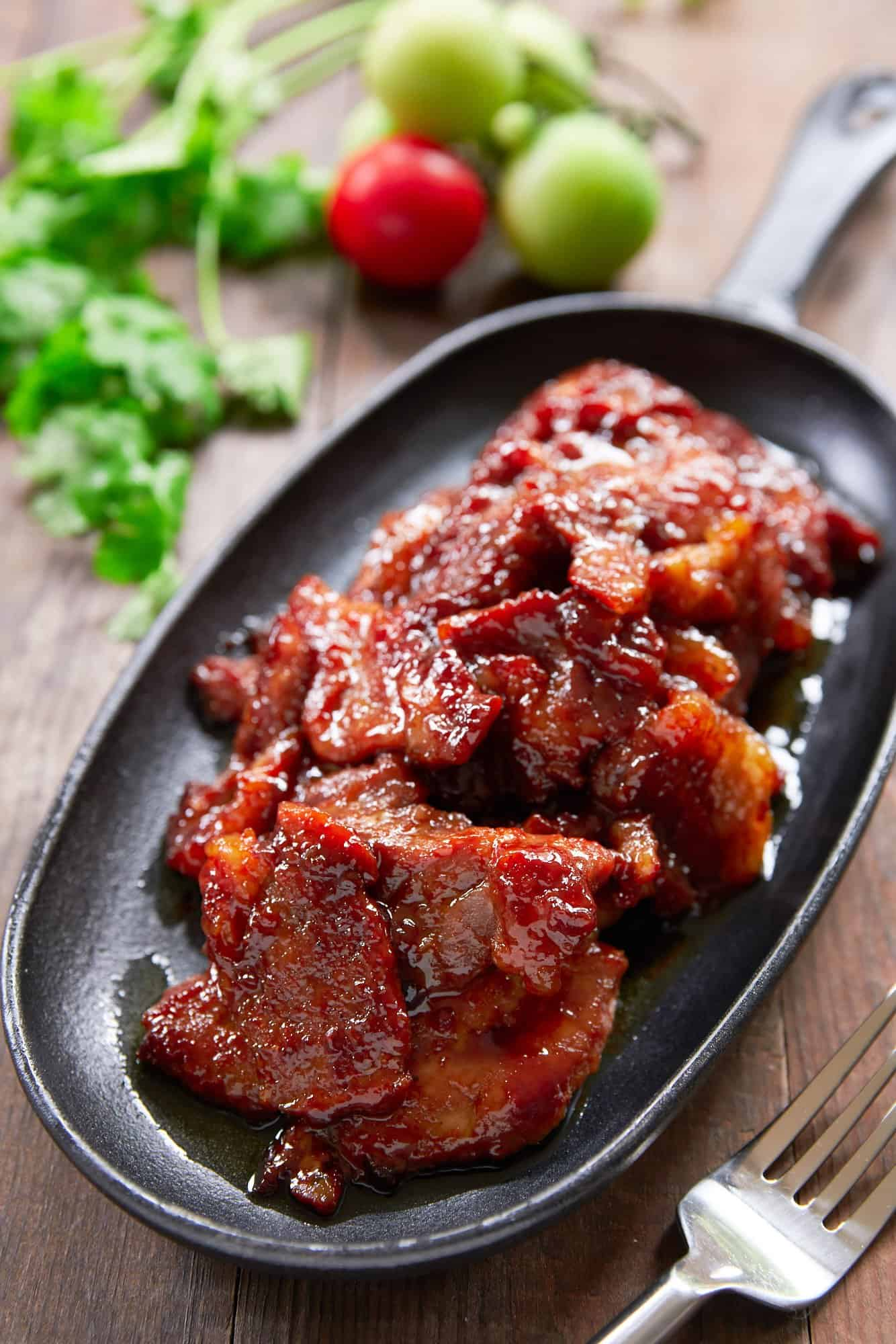 Tocino, or Filipino Bacon is a delicious sweet and savory breakfast treat that's easy to make and addictively good.