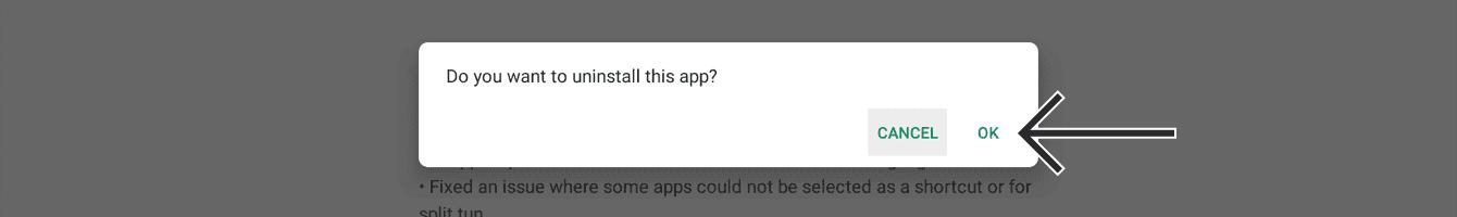 "Click ""OK"" to uninstall."