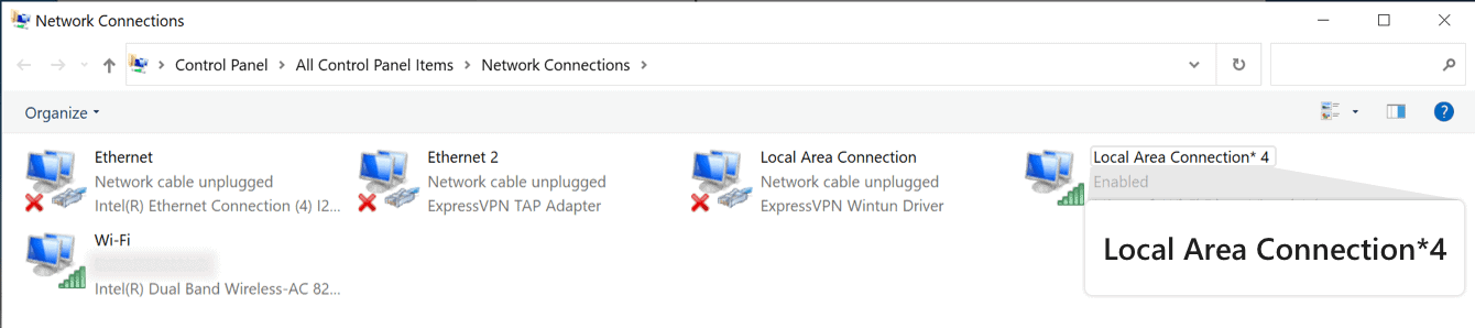 """You will see a network called """"Local Area Connection."""""""