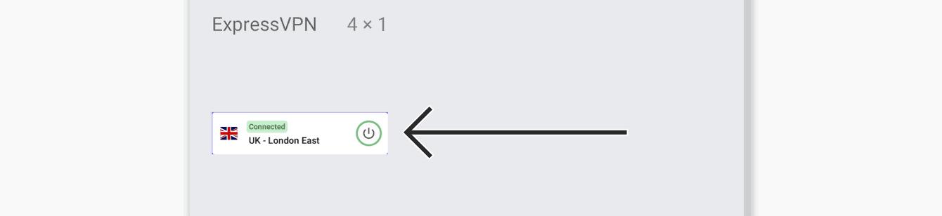 Toque e segure o widget da ExpressVPN.