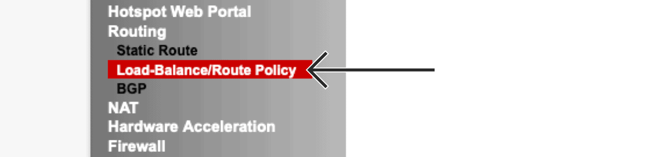 """Click """"Load-Balance/Route Policy."""""""