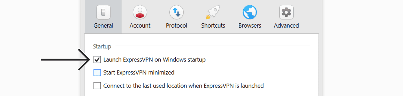 Check or uncheck the box for Launch ExpressVPN on Windows startup.