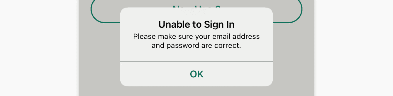 Please make sure your email address and password are correct.