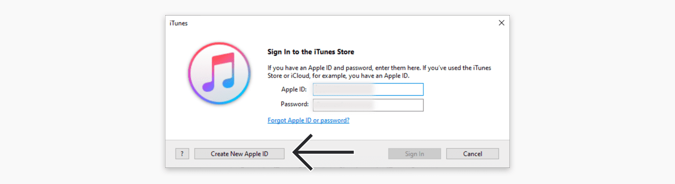"Click ""Create New Apple ID."""