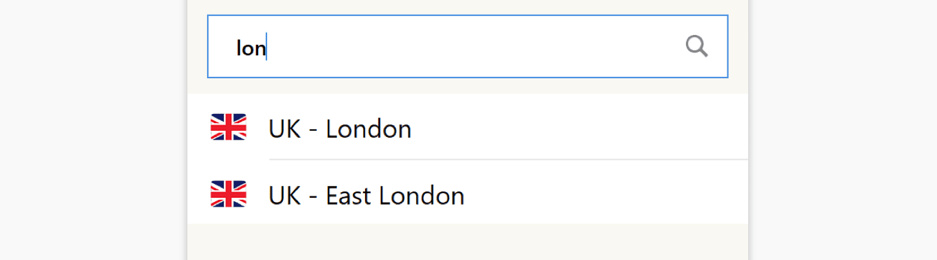To search for a location, enter the location in the search bar.