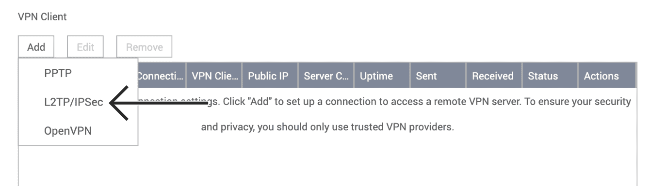 """Select """"L2TP/IPsec."""""""