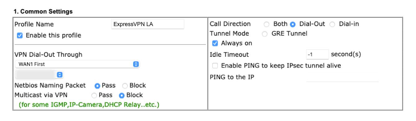 "Enter information for ""Common Settings."""