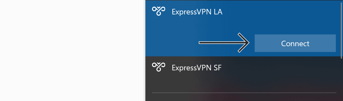 "Click ""Connect"" to connect to the VPN server locations."