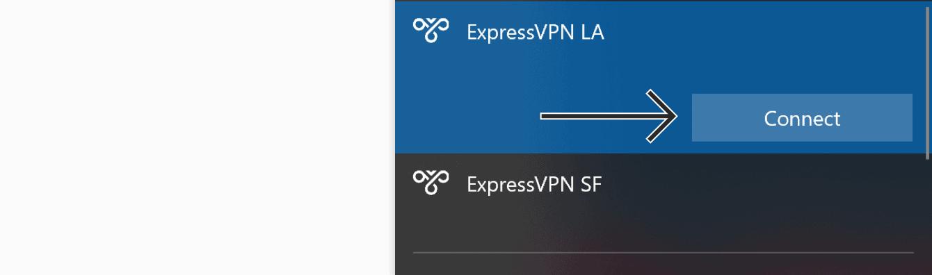 """Klicken Sie auf """"Verbinden"""", um sich mit den VPN-Serverstandorten zu verbinden."""