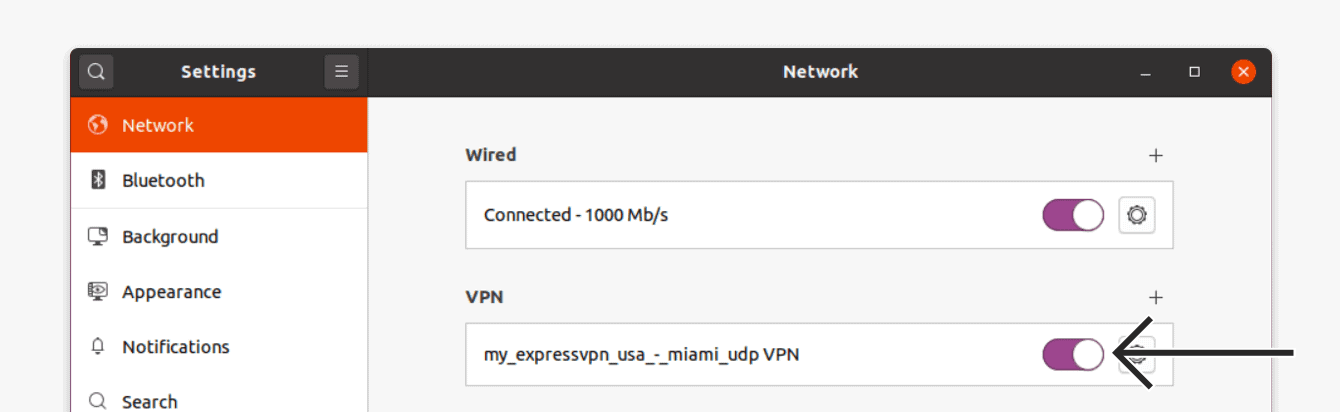 Toggle the new VPN profile on.