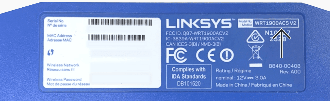 The bottom of Linksys WRT1900ACS.