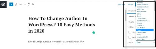Changing the Author Using Classic Editor