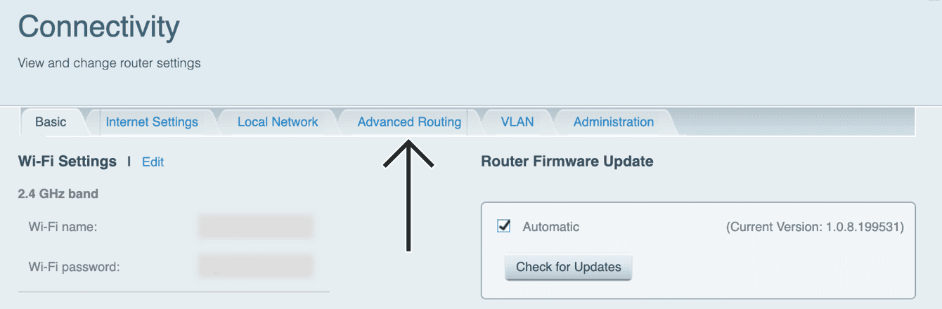 "Select ""Advanced Routing."""