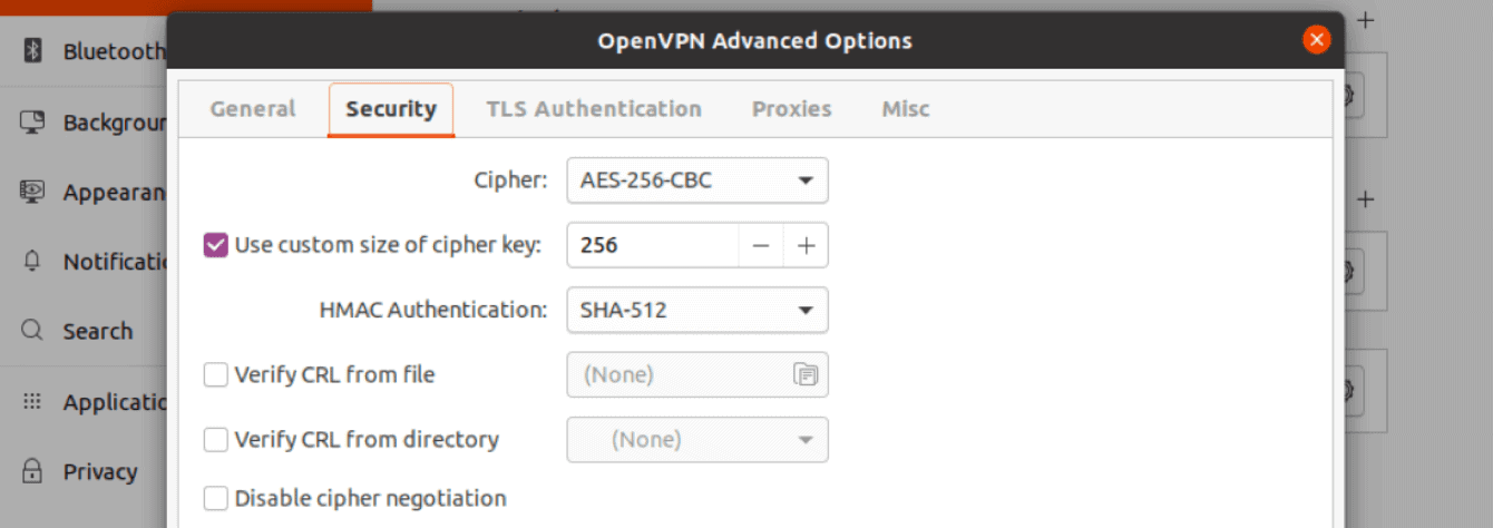 """Enter the details for the """"Security"""" tab in the """"OpenVPN Advanced Options"""" screen."""