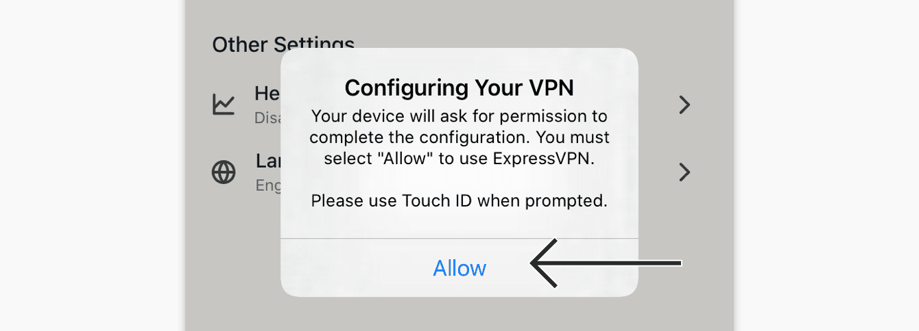 "To reinstall VPN configuration, tap ""Allow."""