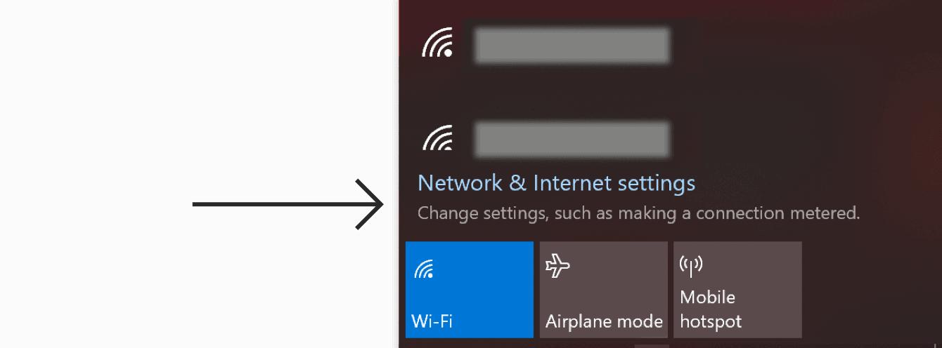 """Klicken Sie auf """"Netzwerk- und Interneteinstellungen."""""""
