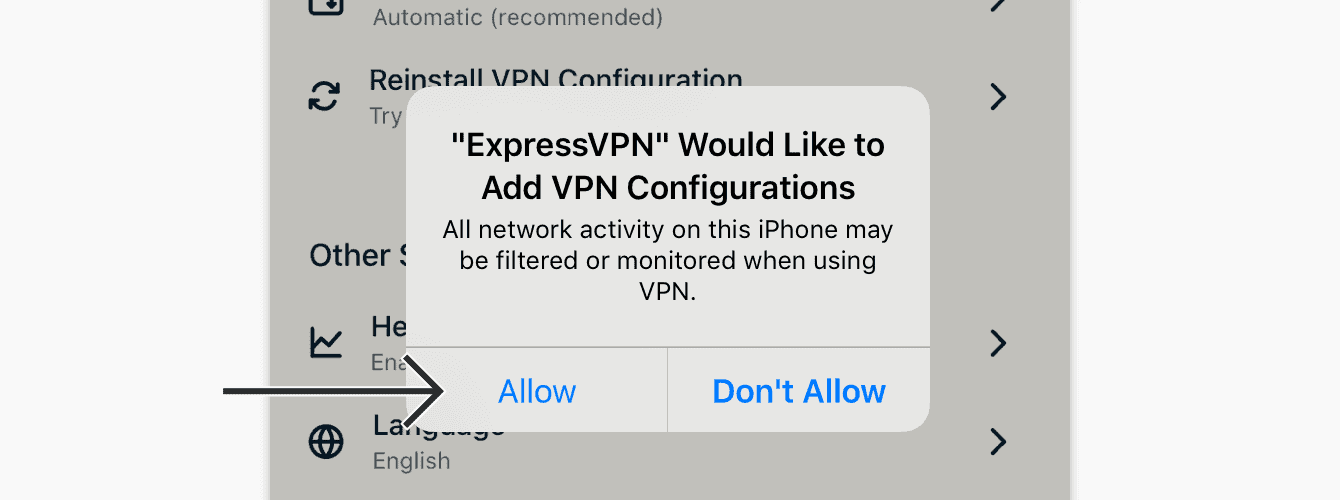 "When prompted to add VPN configurations, tap ""Allow."""