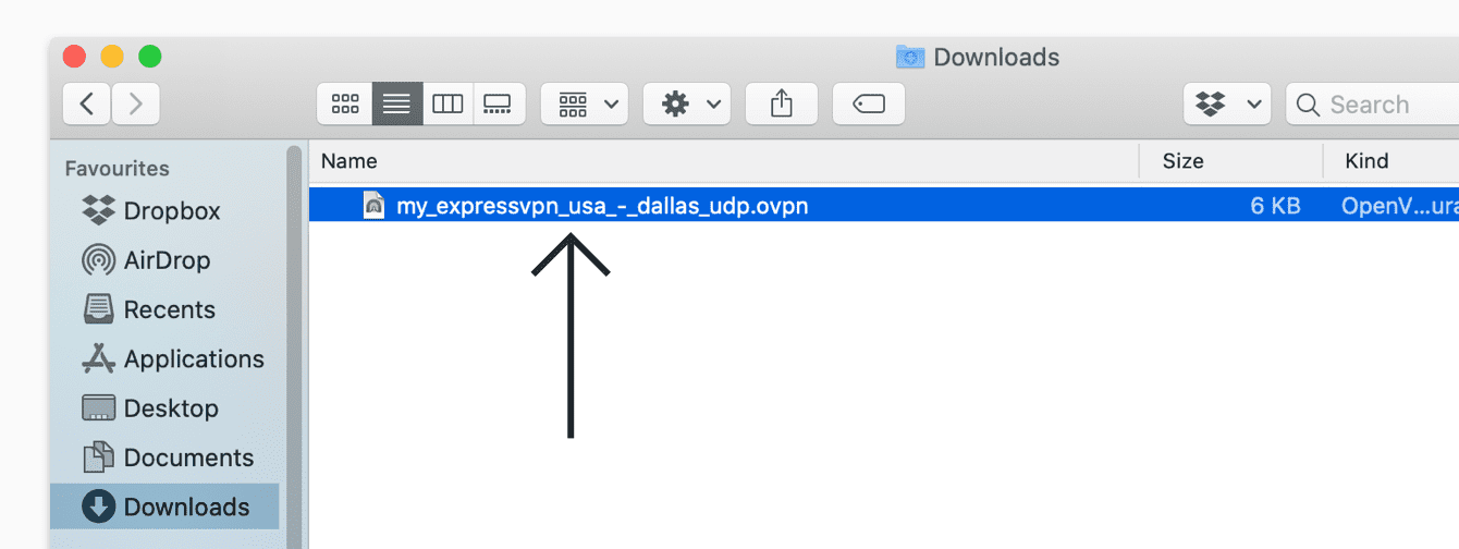 Double-click the ExpressVPN's configuration file in the Downloads folder.
