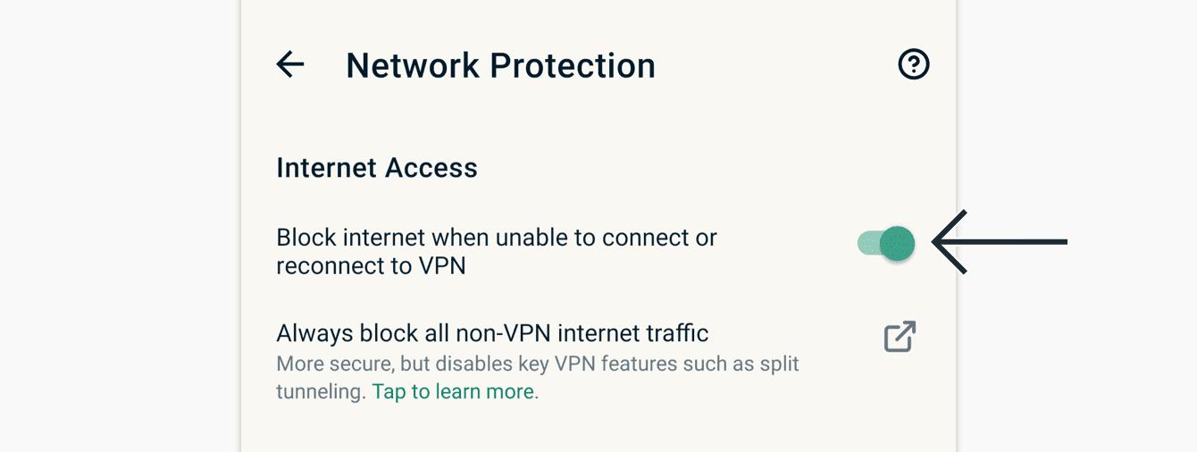 """Toggle """"VPN'e hiç veya yeniden bağlanılamadığında interneti engelle özelliğini açın veya kapayın."""