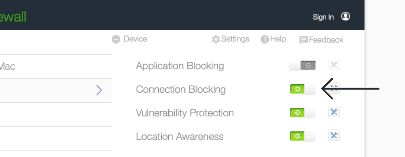 """Toggle """"Connection Blocking"""" off."""