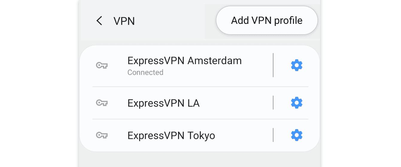 Toque e segure em cima de seu perfil VPN existente.
