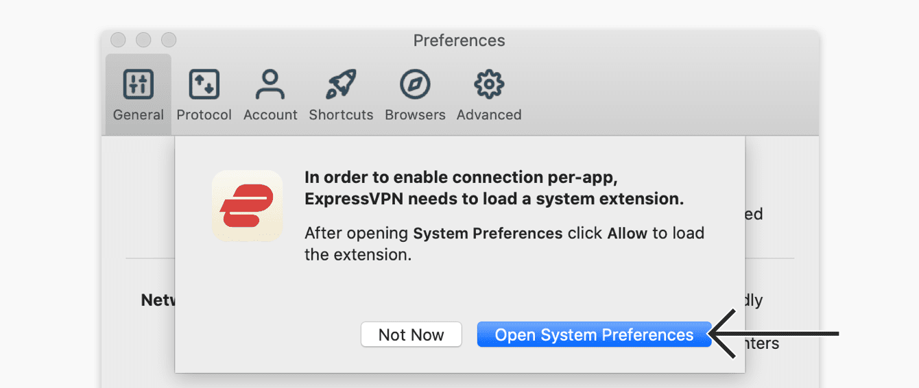 "Click ""Open System Preferences."""