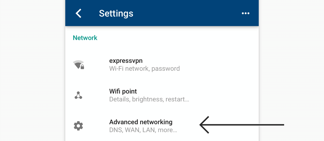 "Tap ""Advanced networking."""