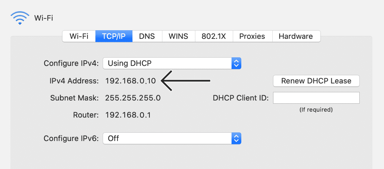 "Your device's private IP address will be shown next to ""IPv4 Address."""