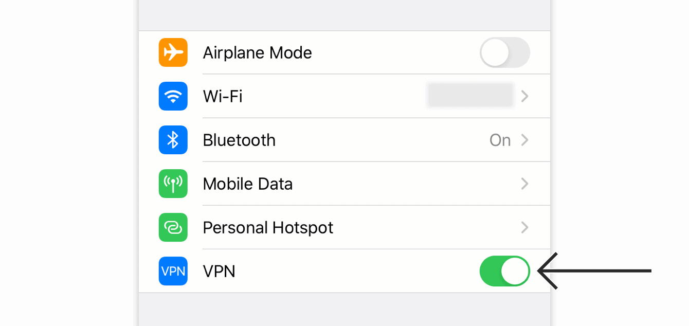 "Toggle ""VPN"" off."