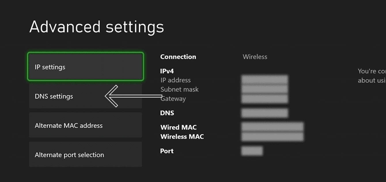 "Select ""DNS settings."""
