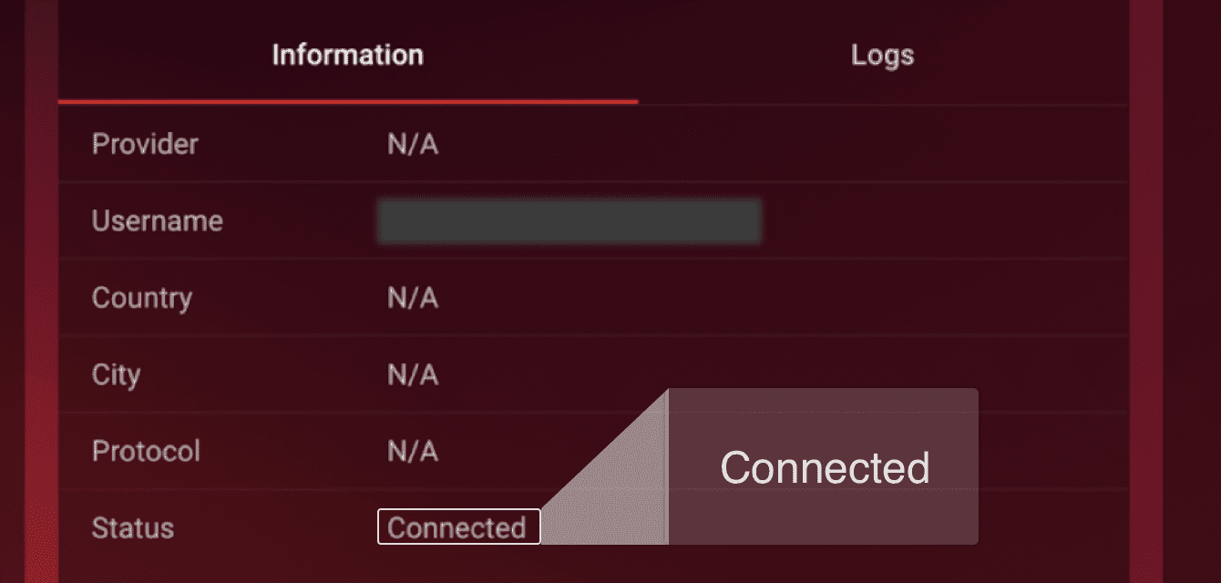 "You will see ""Connected"" next to ""Status."""