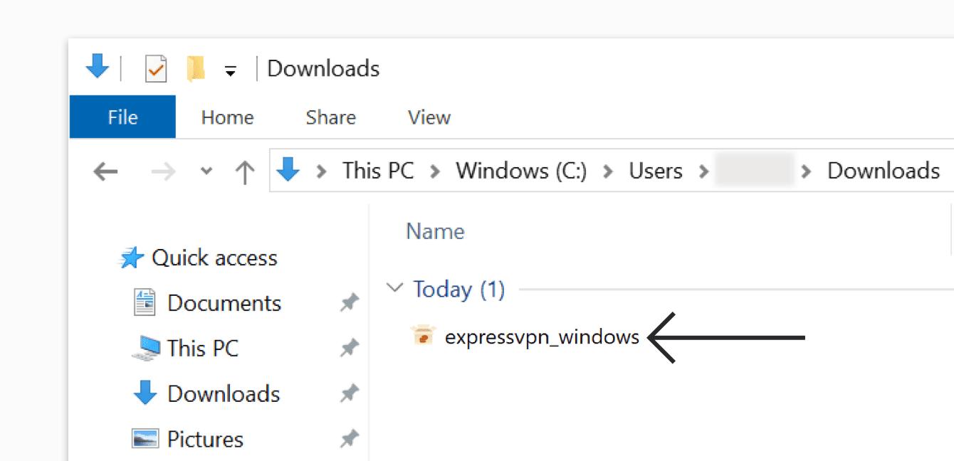 Double-click the ExpressVPN installer file.