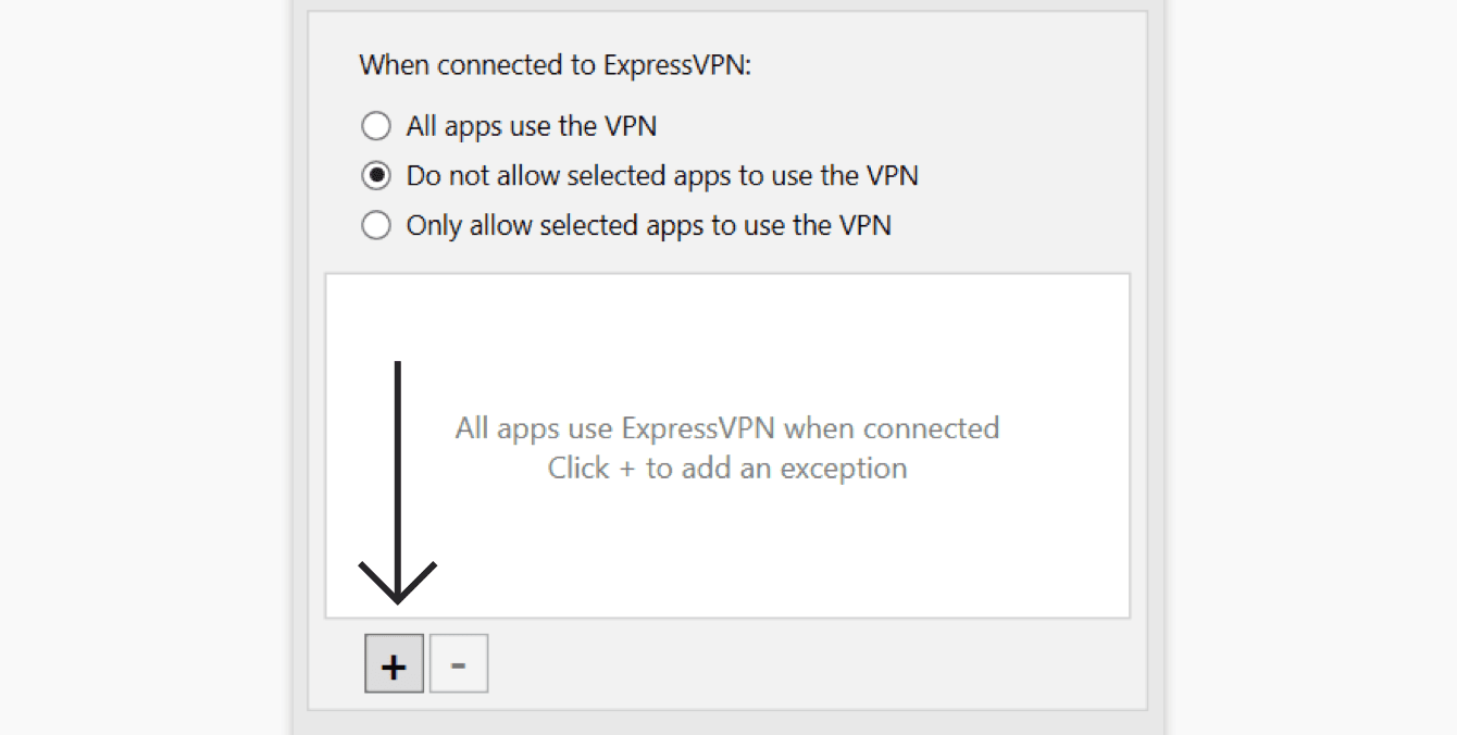 "Select ""Do not allow selected apps to use the VPN,"" then click the ""plus sign."""