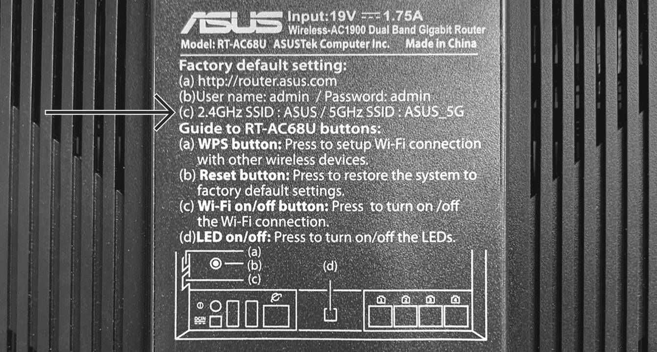 You can find the default network name at the bottom of your Asus router.