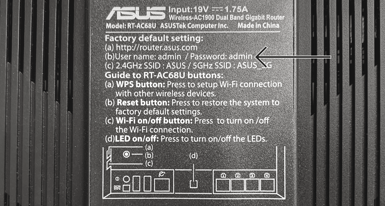 You can find the default router admin password on the bottom of your Asus router.