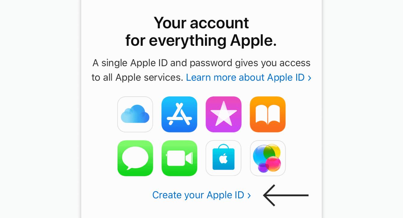 """Tippen Sie auf """"Ihre Apple ID erstellen."""""""