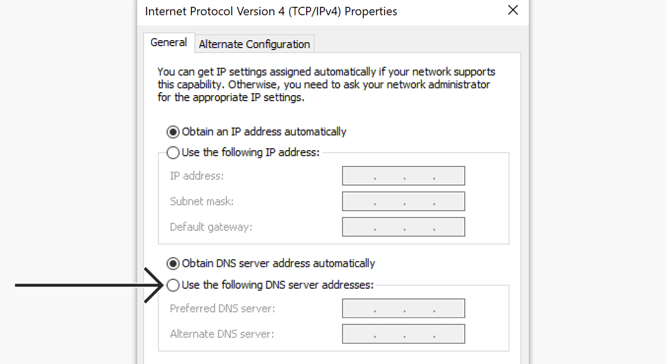 """Select """"Use the following DNS server addresses."""""""