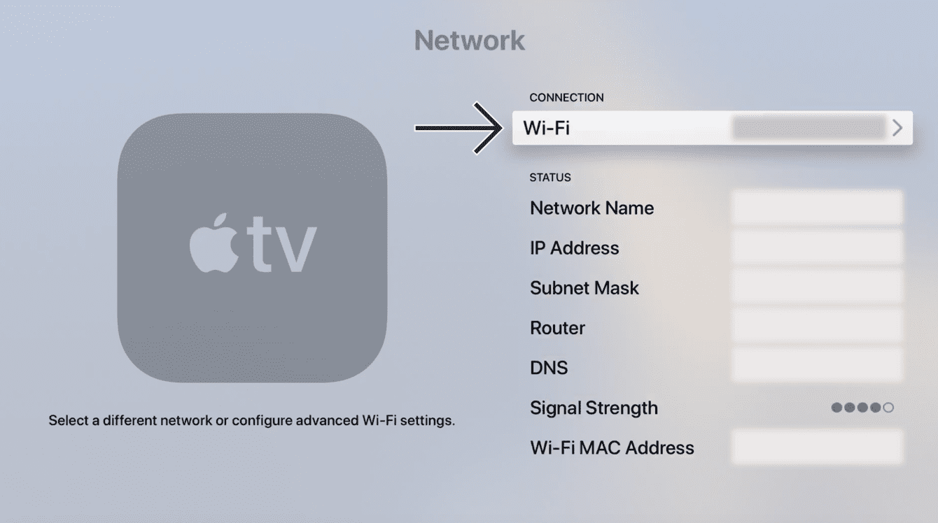 Select your current active connection.